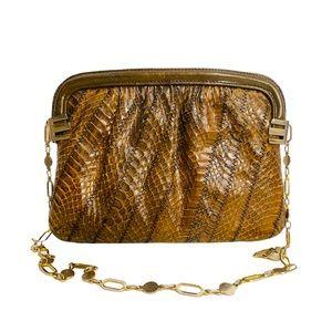 Vntage 70s Snakeskin Chain Strap Shoulderbag Khaki